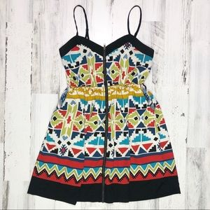Forever 21 Zippered Front Patterned Dress